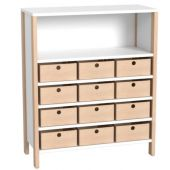 Linus Medium Wide Cabinet Shelf w/12 Material Boxes by HABA, 379675*