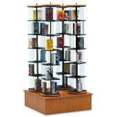 MAR-LINE® Quad Rotor Stand Book & Media Display by Gressco - Solid Oak