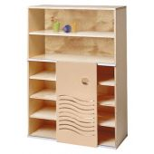 Move Upp Cabinet w/ Wave-Design Sliding Door & 5 Shelves by HABA