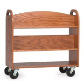 MAR-LINE® Book Truck - Four Sloping Shelves with Handles