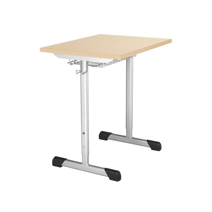 Logo Height-Adjustable Double Skid Desk with Wire Basket by HABA