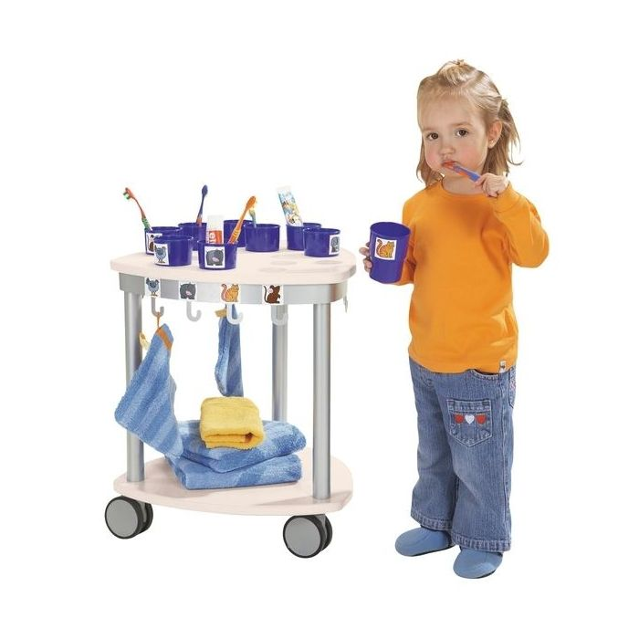 Small Toothbrush Cup and Towel Cart by HABA