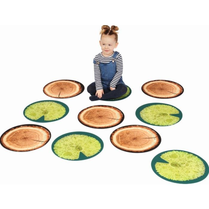 Set of 10 Lilypad and Tree Seating Tiles by HABA