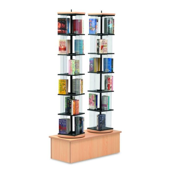 MAR-LINE® Double Rotor Stand Book & Media Display by Gressco - Solid Oak