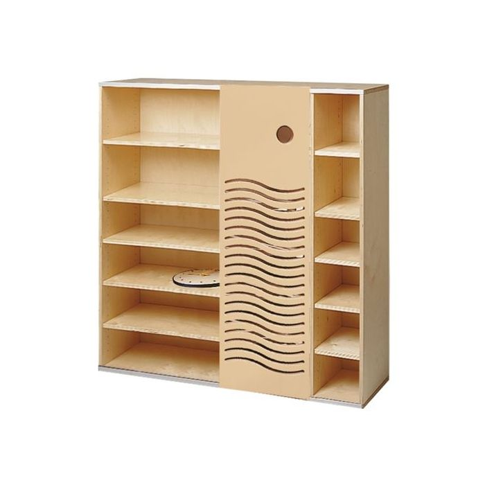 Move Upp Cabinet w/ Wave-Design Sliding Door & 15 Shelves by HABA