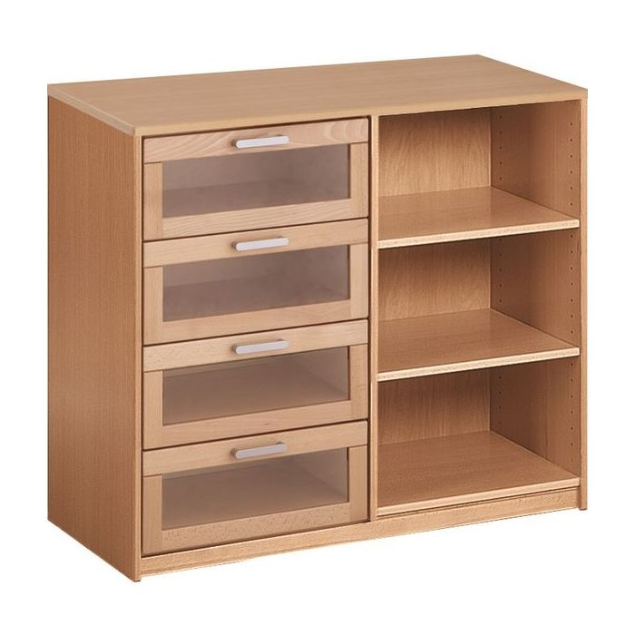 Forminant Shelf/Drawer Cabinet acrylic drawers on left by HABA
