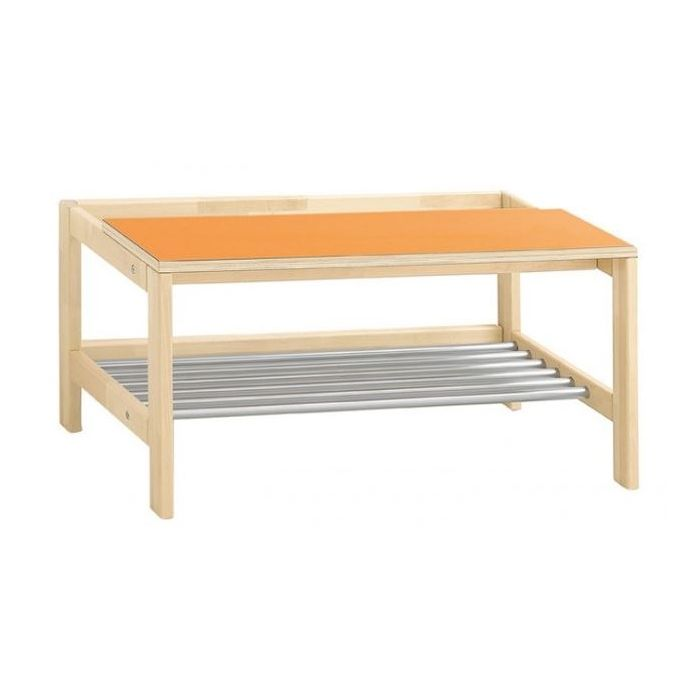 Wardrobe Bench w/ Steel Grating and Wall Clearance Gap by HABA