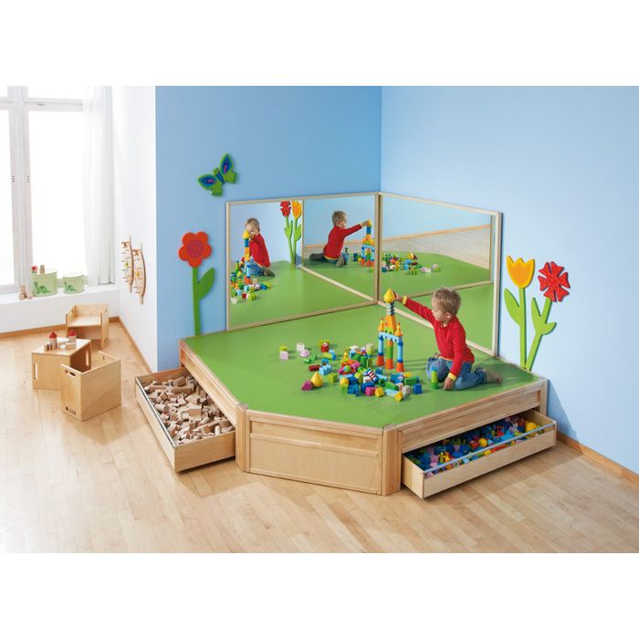 Platform Play Area with Mobile Drawers by HABA