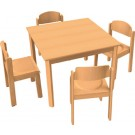 "HABA All Purpose Table & Chair Set, 31 1/2"" x 31 1/2"" x 23 1/4"" H, Plastic Glides, 167953"