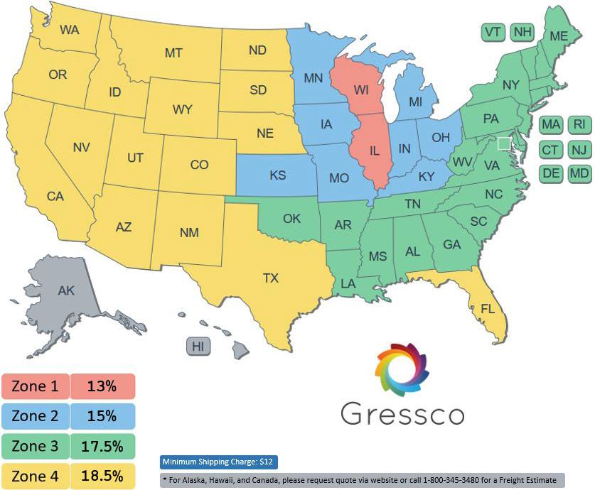 Gressco 2021 Freight Rates Map